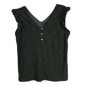 Adrianna Papell Top Tank Eyelet Ruffle Shirt XL